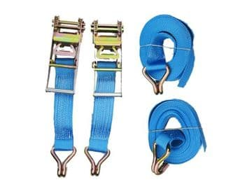 2 x 75mm x 15 metre RATCHET LASHING STRAPS MBL 10T Tie Down Claw Hook trailer